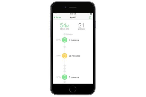Moment creates an easy to read timeline of your mobile addiction.