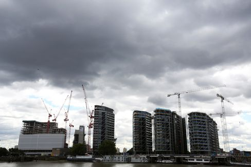 Cranes Stand above Apartment Developments in Nine Elms in London