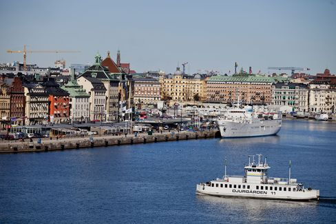 Vessels are Seen on the Waterfront in Stockholm