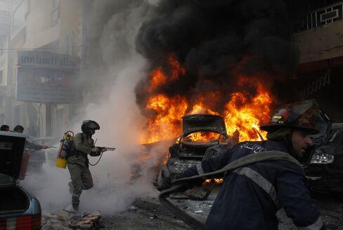 Cars Burn in Beirut