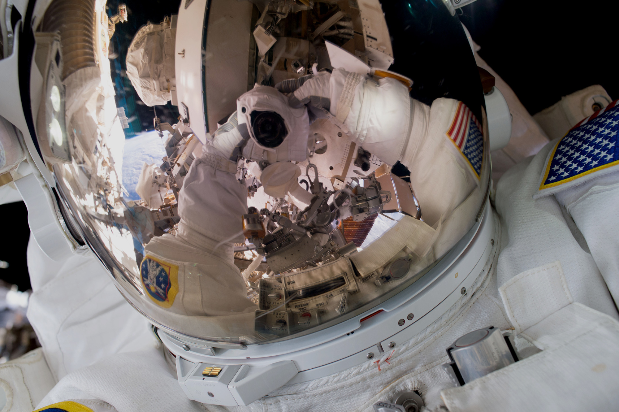 First Spacewalk Selfie