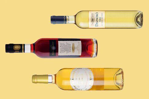 From top: 2012 Diznoko Tokaji Late Harvest; NV Yalumba Museum Muscat; 2006 Raymond-Lafon Sauternes