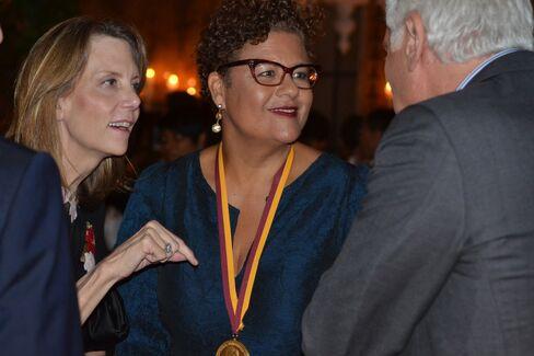 Catie Marron, Elizabeth Alexander and Jon LaPook