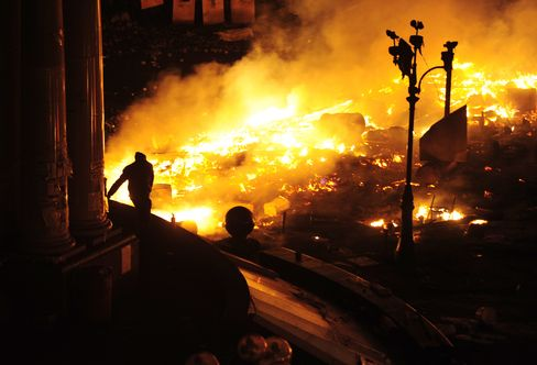 Kiev Barricades Burn