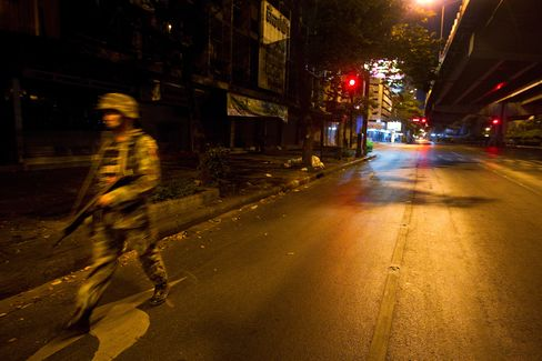 Empty streets at night in Bangkok