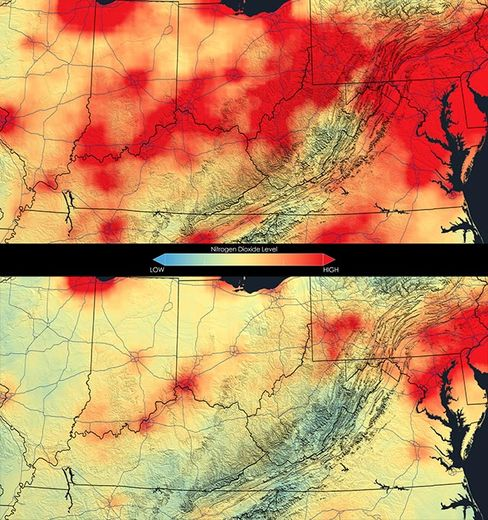 Close up of nitrogen dioxide in the Ohio River Valley averaged over 2005 (top) and averaged over 2011.