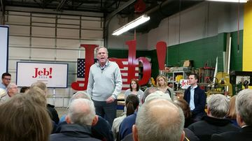 Former Florida Governor Jeb Bush speaks at a Dec. 1 town hall event in Newton, Iowa.