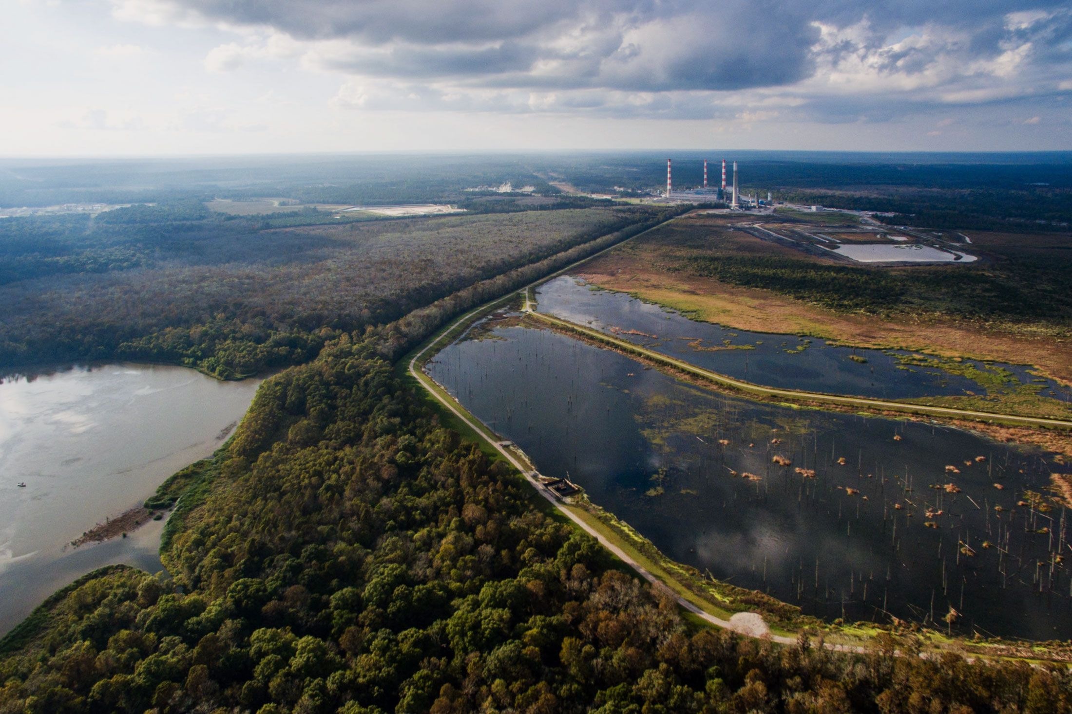 The coal and natural gas-powered Barry plant sitsadjacent to the Mobile River in the Mobile-Tensaw Delta.