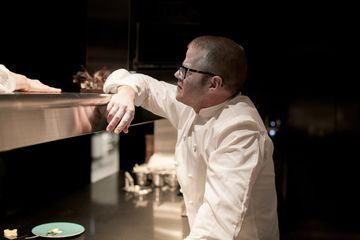 Blumenthal in the kitchen of the Fat Duck Melbourne, where his team will work for the next six months.