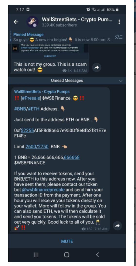 WallStreetBets Forum Members Targeted in Telegram Cryptocurrency Scam