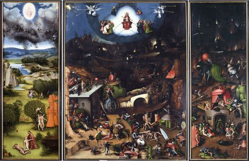 A triptych of The Last Judgment by Lucan Cranach the Elder, a copy after Hieronymous Bosch, from 1524.