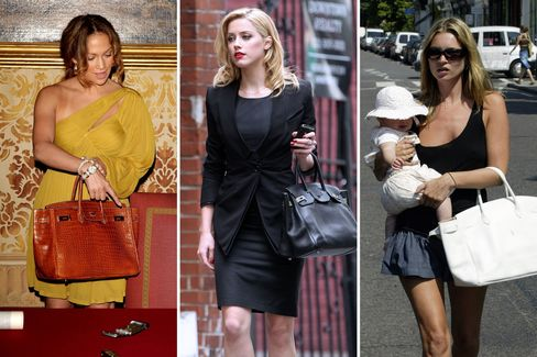 Birkins out and about with (from left) Jennifer Lopez in 2008, Amber Heard in 2011, and Kate Moss in 2003.