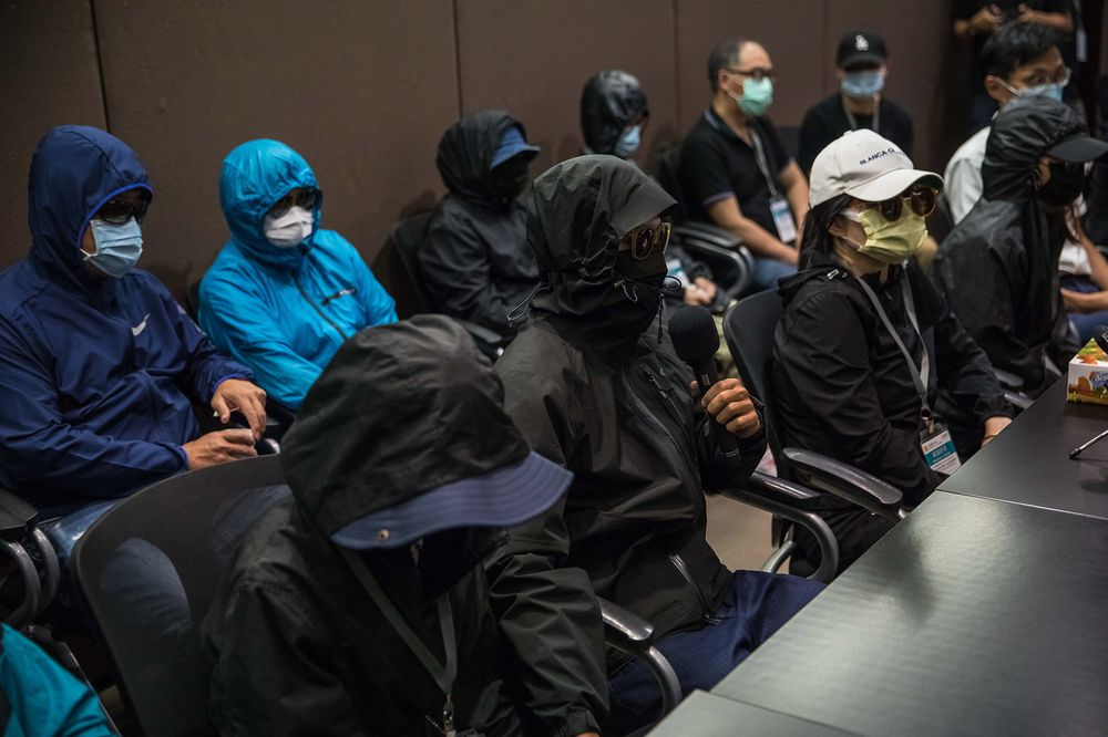 Relatives of activists attend a press conference in Hong Kong on Sept.12.