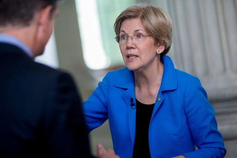 Senator Elizabeth Warren, a Democrat from Massachusetts, speaks during a Bloomberg Television interview on Capitol Hill in Washington, D.C., on May 19, 2015.