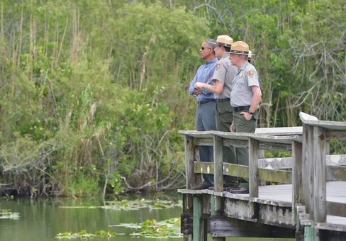President Barack Obama in Everglades National Park in Homestead, Florida on April 22, 2015.