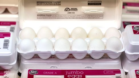 Eggs at a grocery store on May 21, 2015 in Miami.