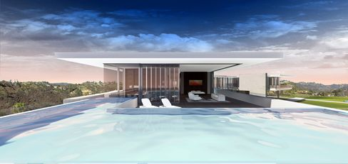The mansion has plans that call for four swimming pools.