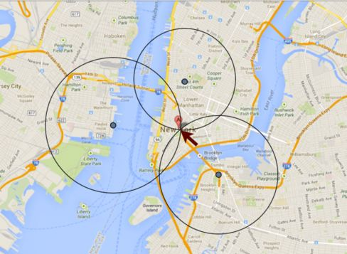 An image from Include Security shows how Tinder users' locations could be tracked to within 100 feet
