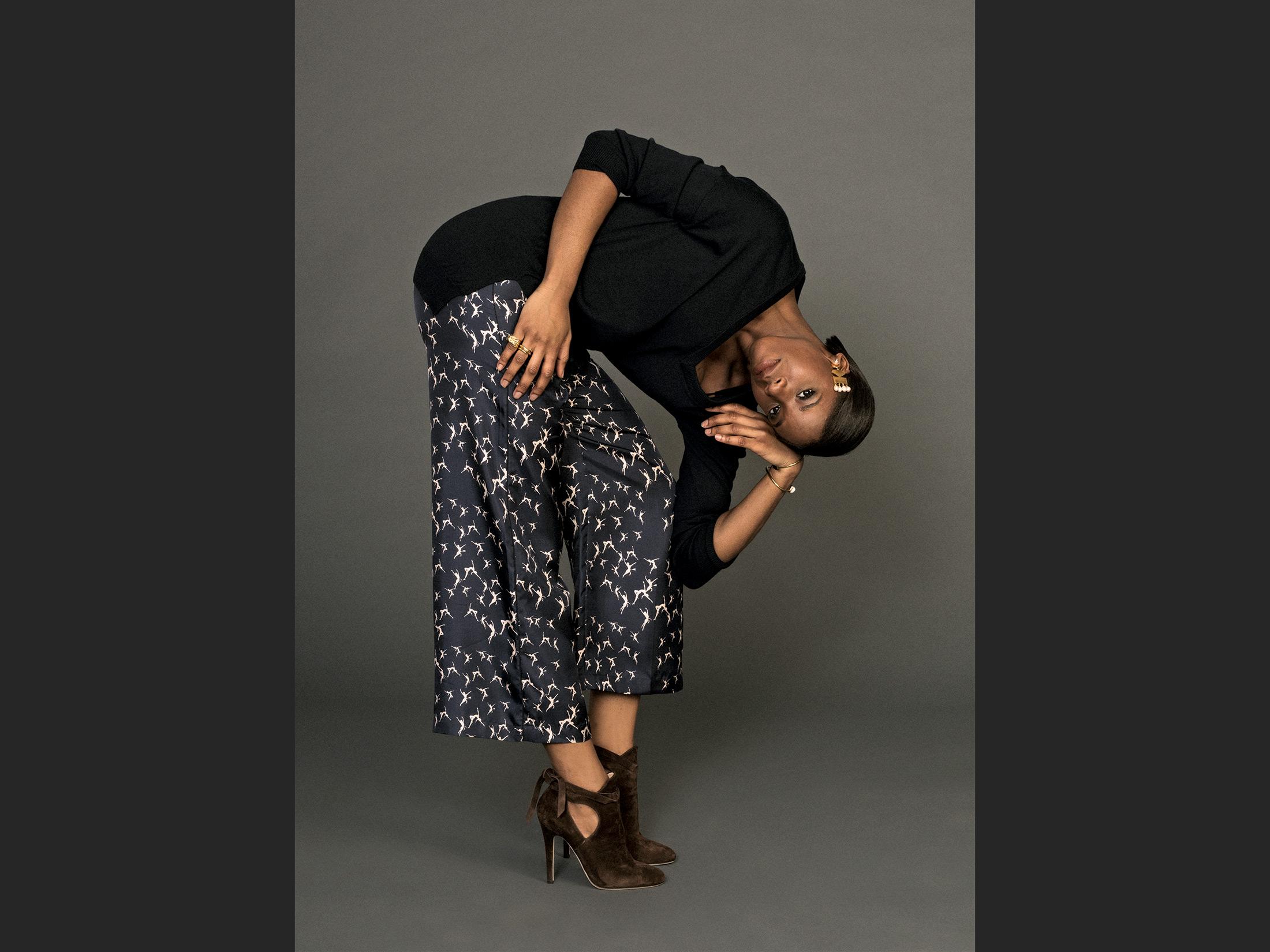 Max Mara Azzore ballerina-printed silk pajama pants
