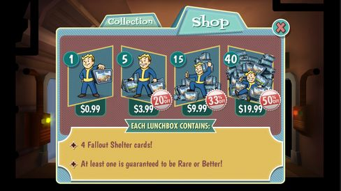 Fallout Shelter makes money from in-app purchases.