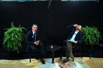 """President Barack Obama participates in an interview with Zach Galifianakis for """"Between Two Ferns with Zach Galifianakis"""" in the Diplomatic Reception Room of the White House"""