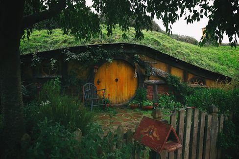 The Hobbiton movie set in Matamata, New Zealand, where The Lord of the Rings and The Hobbit trilogies were filmed.
