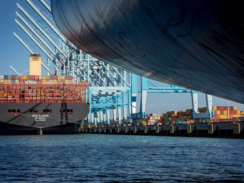 Eloane Container Ship Makes Berth At Port of Los Angeles