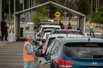 People get tested for Covid-19 at a drive through testing clinic in Shepparton, Australia on Oct. 15.