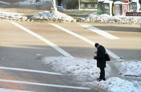 Frozen Sidewalk in Chicago