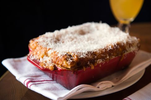 The cheesy, meaty duck lasagna for two (can easily serve four) with a crusty top.