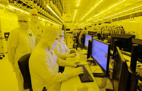 Engineers at a GlobalFoundries plant in Germany.