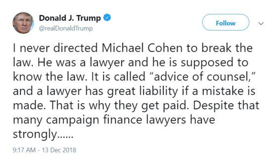 Trump's Already Tweeting His Post-Presidency Defense