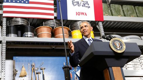 U.S. President Barack Obama speaks to a packed room at Cedar Falls Utilities on January 14, 2015 in Cedar Falls, Iowa. Obama spoke of plans to increase access to affordable high-speed broadband internet service across the nation.