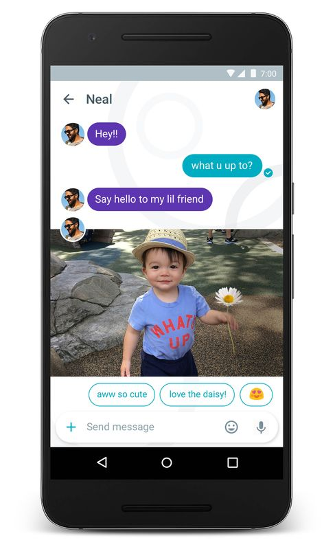 Google Allo can study the photo and suggests possible responses. Source: Google