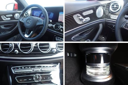 The E-Class comes with plenty of buttons and knobs, plus a pinstripe interior option. The vial of fragrance (bottom right) is located in the glove box.