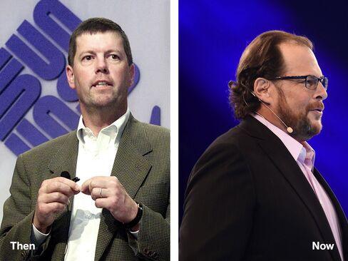 L-R: Scott McNealy, 2000; Marc Benioff, 2014