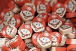 Nintendo Co. merchandise featuring video-game Super Mario Brothers character Mario.