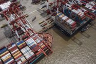 Views of the Yangshan Container Port Ahead of China Trade Figures