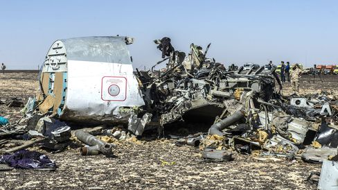 Debris of the A321 Russian airliner lie on the ground a day after the plane crashed in Wadi al-Zolomat, a mountainous area in Egypt's Sinai Peninsula, on Nov. 1, 2015.