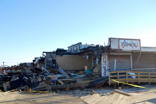 Damaged businesses along the Boardwalk in Seaside Heights, New Jersey