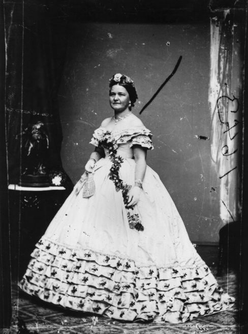 Mary Todd Lincoln wearing a possibly overly expensive dress to her husband's inauguration.