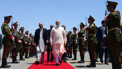 Modi arrives for inauguration of the Salma Dam on June 4.