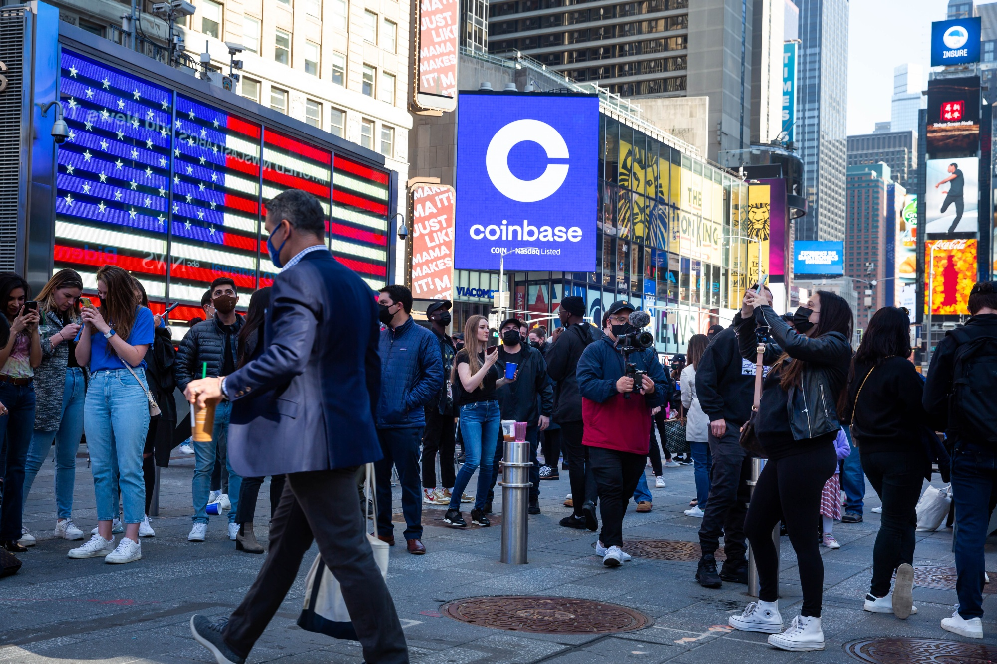 Coinbase during the company's initial public offering (IPO) at the Nasdaq MarketSite in New York, U.S.