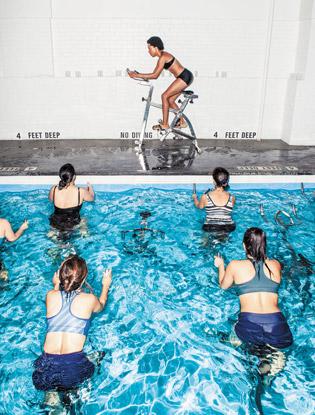 An underwater spinning class at Aqua Studio NY