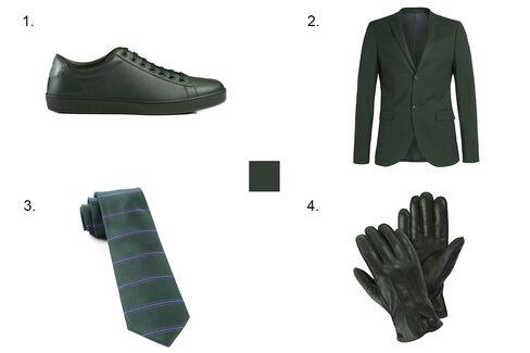 1. Gucci leather sneaker, $495, gucci.com 2. Topman dark green ultra skinny fit blazer, $280 and trousers, $120, topman.com 3.The Tie Bar Ripon horizontal stripe tie, $19, thetiebar.com 4. Suitsupply green gloves, $99, suitsupply.com.