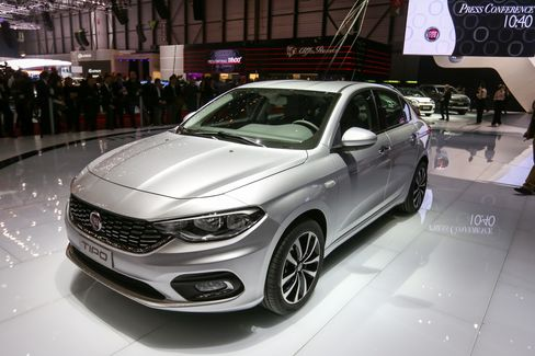 A Fiat Tipo automobile sits on display at the Geneva International Motor Show.