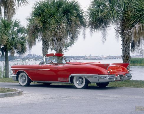 The 1958 Cadillac Eldorado Biarritz. This is the convertible edition of Cadillac's luxury Eldorado; it would deploy a top cover if the sensors felt a drop of rain.