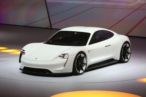A Porsche Mission E hybrid automobile.