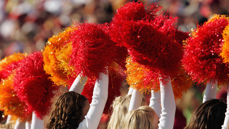 USC Cheer Cheerleader Pom Poms Gold /& Red Set NEW