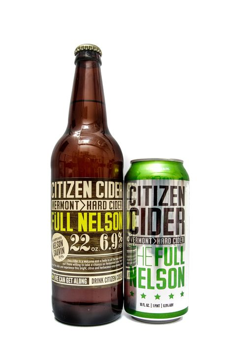 Full Nelson cider is aggressively dry-hopped for a bracing lemony white wine-like fruitiness.